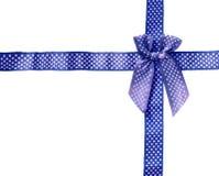 Shiny Ribbon blue (bow) gird box frame isolated on white backgro Royalty Free Stock Photos