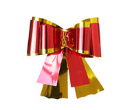 Shiny Ribbon Bow Red Golden isolated on white Background clippin Royalty Free Stock Image