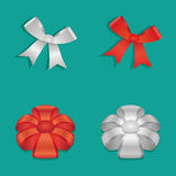Shiny Ribbon Bow set Vector Illustration. Red Ribbon Bow set Vector Illustration Royalty Free Stock Photo