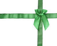 Shiny Ribbon green (bow) gird box frame isolated on white backgr Royalty Free Stock Image