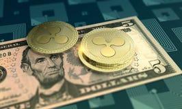 Shiny Ripple crypto-currency background royalty free illustration