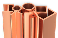 Shiny rolled copper metal products on white. Metallurgical industry non-ferrous industrial products - group of stainless rolled copper metal products girders Royalty Free Stock Images