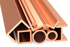 Shiny rolled copper metal products on white. Metallurgical industry non-ferrous industrial products - group of stainless rolled copper metal products pipes Stock Photography