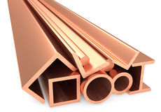Shiny rolled metal copper products on white Royalty Free Stock Photo