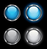 Shiny Rollover Web Buttons. On a black background Royalty Free Stock Photos