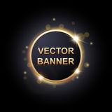 Shiny round banner on dark background. For your design, vector illustration Stock Photo