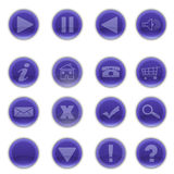 Shiny Round Blue Web Buttons Stock Photo