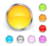 Shiny round icons. With metal stroke Royalty Free Stock Images