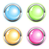 Shiny round icons. Clipart illustration Stock Image