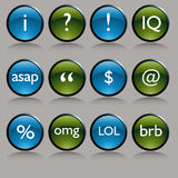 Shiny Round Text Messaging Symbol Buttons. An image of a shiny round text messaging symbol buttons Stock Images