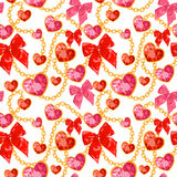 Shiny ruby heart pendants hanging seamless pattern Royalty Free Stock Photos
