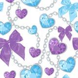 Shiny ruby heart pendants seamless pattern Stock Images