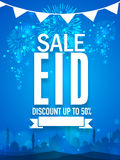 Shiny sale poster, banner or flyer for Eid celebration. Shiny fireworks and mosque silhouette decorated sale poster, banner or flyer with discount offer for stock illustration
