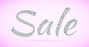 Shiny sale tag on pink background. Royalty Free Stock Photos