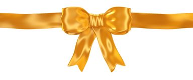 Shiny satin gold ribbon bow isolated on white. 3d render Stock Illustration