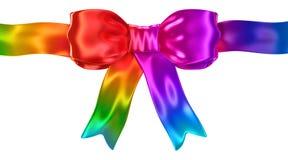 Shiny satin rainbow ribbon bow isolated on white. 3d render Royalty Free Stock Photography