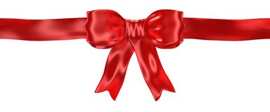 Shiny satin red ribbon bow isolated on white. 3d render Stock Illustration