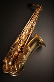 Shiny sax. Shiny golden saxophone (wide angle Royalty Free Stock Photo