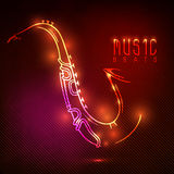 Shiny saxophone with neon effect. Stock Photo