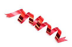 Shiny scarlet ribbon for present wrapping Royalty Free Stock Photography