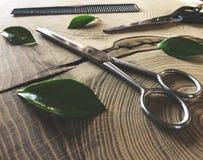 Shiny scissors on wooden background royalty free stock photo