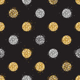 Shiny seamless background with golden and silver glitter dots decorat Royalty Free Stock Photography