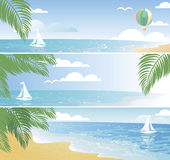 Shiny seaside banners in vector Royalty Free Stock Images
