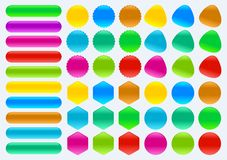 Colorful set of buttons in different shapes Square rectangle circle. Vector illustration royalty free illustration