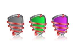 Shiny shield wrapped in ribbon icon set Stock Photos