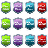 Shiny shields in different colors Royalty Free Stock Photos