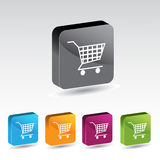 Shiny shopping cart button set Stock Images