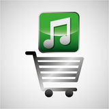 Shiny shopping cart music online commerce Royalty Free Stock Photography