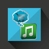 Shiny shopping cart music online commerce. Vector illustration eps 10 Stock Images