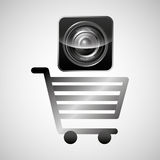 Shiny shopping cart sound speaker online commerce Royalty Free Stock Photography