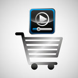 Shiny shopping cart video player online commerce Royalty Free Stock Photos