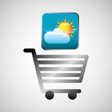 Shiny shopping cart weather online commerce. Vector illustration eps 10 Vector Illustration