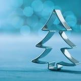 Shiny silver Christmas tree decoration Stock Photo