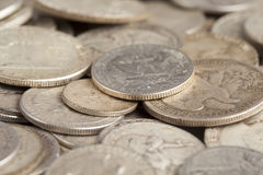 Shiny Silver Coins Stock Photography