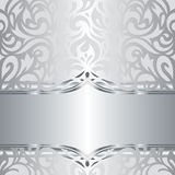 Shiny silver floral holiday vintage invitation background design Stock Photography