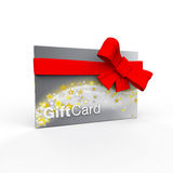Shiny silver and gold stars gift card wrapped in red bow Stock Image