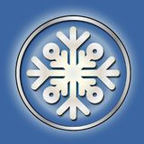 Shiny silver round button. With snowflake. Winter decoration. New year, Christmas. Silver blue. Female. Stock Photos