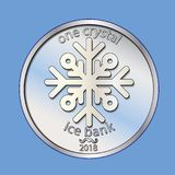 Shiny silver round coin. With snowflake. Vector. Winter money. New year, Christmas. Shiny silver round coin. With snowflake. Vector. New year Christmas Royalty Free Stock Image