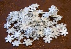 Shiny silver snowflakes Christmas decoration Royalty Free Stock Image