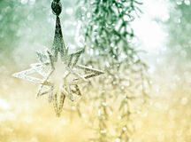Shiny silver star. christmas decoration Stock Images