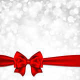 Shiny silver starry christmas background with red. Bow. Vector illustration Stock Photography