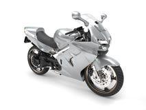Shiny silver super motor bike Stock Images