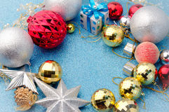 Shiny and silver xmas decorating with space for text center royalty free stock image