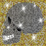 Shiny Skull of diamonds and gold glittering stars . Golden element collection. Day of The Dead. Icon symbol fashion design. Gold mosaic patterns,  luxury shiny Stock Images