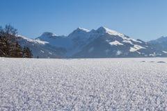 Shiny snow crystals. Close up of shiny snow crystals on field stock photos