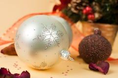 Shiny snowflake and christmas elements. Shiny snowflake on a christmas ball ornament Stock Photo